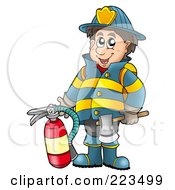Royalty Free RF Clipart Illustration Of A Fireman Holding An Extinguisher by visekart