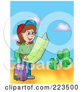 Royalty Free RF Clipart Illustration Of A Girl Reading A Map In The Desert by visekart