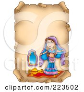 Royalty Free RF Clipart Illustration Of A Vertical Aged Parchment Page With A Belly Dancer by visekart