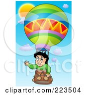 Royalty Free RF Clipart Illustration Of A Boy Waving In A Hot Air Balloon
