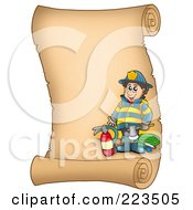 Royalty Free RF Clipart Illustration Of A Vertical Parchment Page With A Fireman by visekart