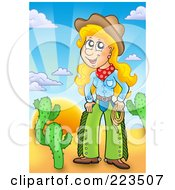 Royalty Free RF Clipart Illustration Of A Western Cowgirl Holding A Lasso In A Desert