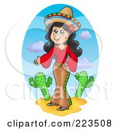Royalty Free RF Clipart Illustration Of A Pretty Mexican Woman Standing By Cactus Plants