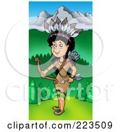 Royalty Free RF Clipart Illustration Of A Native American Woman Holding A Bow Near Mountains by visekart