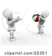 Clipart Illustration Of Two White Characters Tossing A Colorful Beach Ball On The Shore