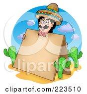 Royalty Free RF Clipart Illustration Of A Hispanic Man Holding A Blank Board