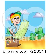 Royalty Free RF Clipart Illustration Of A Traveling Boy Reading A Map In The Desert by visekart