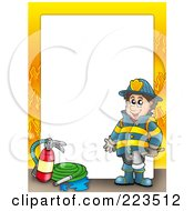 Royalty Free RF Clipart Illustration Of A Fireman Border With Flames Around White Space by visekart