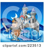 Royalty Free RF Clipart Illustration Of A Knight Holding A Sword Near A Winter Castle