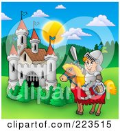 Royalty Free RF Clipart Illustration Of A Knight On A Steed By A Castle