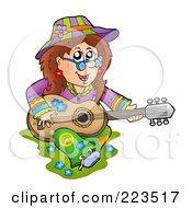 Royalty Free RF Clipart Illustration Of A Hippie Lady Playing A Guitar by visekart