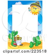 Royalty Free RF Clipart Illustration Of A Sun Shining Down On A Sleeping Mexican Border Frame Around White Space