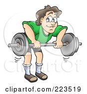 Royalty Free RF Clipart Illustration Of A Man Doing Bent Over Barbell Rows by visekart