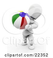 White Character Carrying A Colorful Yellow Blue Red Green And White Ball On The Beach by KJ Pargeter
