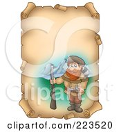 Royalty Free RF Clipart Illustration Of A Vertical Aged Parchment Page With A Hunter by visekart