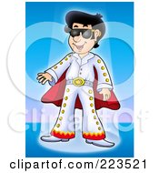 Royalty Free RF Clipart Illustration Of An Elvis Impersonator In The Spotlight