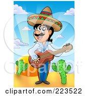 Royalty Free RF Clipart Illustration Of A Hispanic Man Playing A Banjo