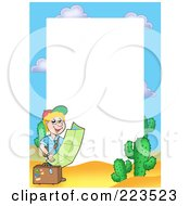 Royalty Free RF Clipart Illustration Of A Traveling Boy Reading A Map Frame Around White Space by visekart