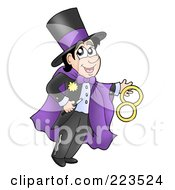 Royalty Free RF Clipart Illustration Of A Magician In A Purple Cape