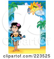 Royalty Free RF Clipart Illustration Of A Hawaiian Girl Playing Music Border Frame Around White Space