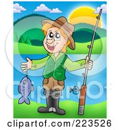 Royalty Free RF Clipart Illustration Of A Boy Holding A Fish And His Pole Near A Lake by visekart