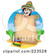 Royalty Free RF Clipart Illustration Of A Hispanic Man Holding A Parchment Scroll