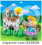 Royalty Free RF Clipart Illustration Of A Princess On Her Horse By A Castle