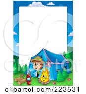 Royalty Free RF Clipart Illustration Of A Boy Camping Border Frame Around White Space 2