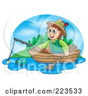 Royalty Free RF Clipart Illustration Of A Boy Fishing In A Wooden Boat by visekart