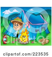 Royalty Free RF Clipart Illustration Of A Boy Peeking Out Of A Tent At A Campfire