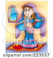 Royalty Free RF Clipart Illustration Of A Pretty Brunette Belly Dancer Standing On A Carpet by visekart