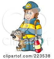 Royalty Free RF Clipart Illustration Of A Fireman By A Dog Holding An Extinguisher by visekart