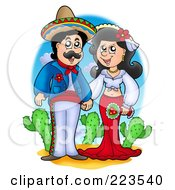 Royalty Free RF Clipart Illustration Of A Hispanic Wedding Couple Holding Hands