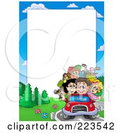 Royalty Free RF Clipart Illustration Of A Driving Family Border Frame Around White Space by visekart