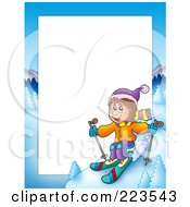 Royalty Free RF Clipart Illustration Of A Skiing Boy Border Frame Around White Space by visekart