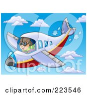 Royalty Free RF Clipart Illustration Of A Pilot Flying A Plane Through The Sky