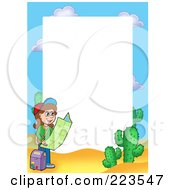 Royalty Free RF Clipart Illustration Of A Girl Reading A Map Border Frame Around White Space