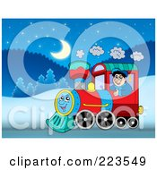 Royalty Free RF Clipart Illustration Of A Man Driving A Train On A Winter Night
