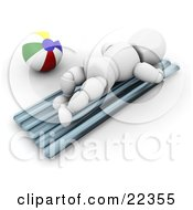 Clipart Illustration Of A White Character Lying On His Belly And Sun Bathing By A Beach Ball On A Warm Beach