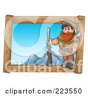 Royalty Free RF Clipart Illustration Of A Hunter Holding A Gun Over A Wooden Frame With Mountains by visekart
