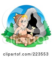 Royalty Free RF Clipart Illustration Of A Cave Baby Holding A Bone by visekart