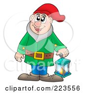 Royalty Free RF Clipart Illustration Of A Friendly Gnome With A Lantern