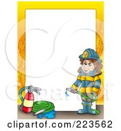 Royalty Free RF Clipart Illustration Of A Firewoman Border With Flames Around White Space by visekart