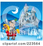 Royalty Free RF Clipart Illustration Of A Knight On A Steed Near A Winter Castle