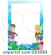 Royalty Free RF Clipart Illustration Of A Snorkel Border Frame Around White Space 3 by visekart