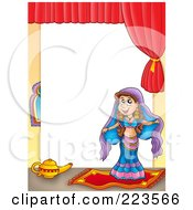 Royalty Free RF Clipart Illustration Of A Belly Dancer Frame Around White Space by visekart