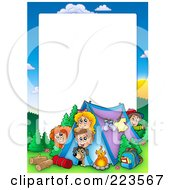 Royalty Free RF Clipart Illustration Of A Camping Kids Border Frame Around White Space by visekart #COLLC223567-0161