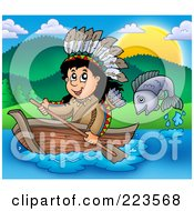 Royalty Free RF Clipart Illustration Of A Fish Jumping By A Native American Man Rowing A Boat
