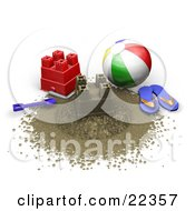 Colorful Beach Ball Blue Flip Flops Shovel And Red Bucket Around A Sand Castle On The Beach