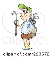 Royalty Free RF Clipart Illustration Of A Male Golfer With A Bag On His Back Holding A Club by visekart